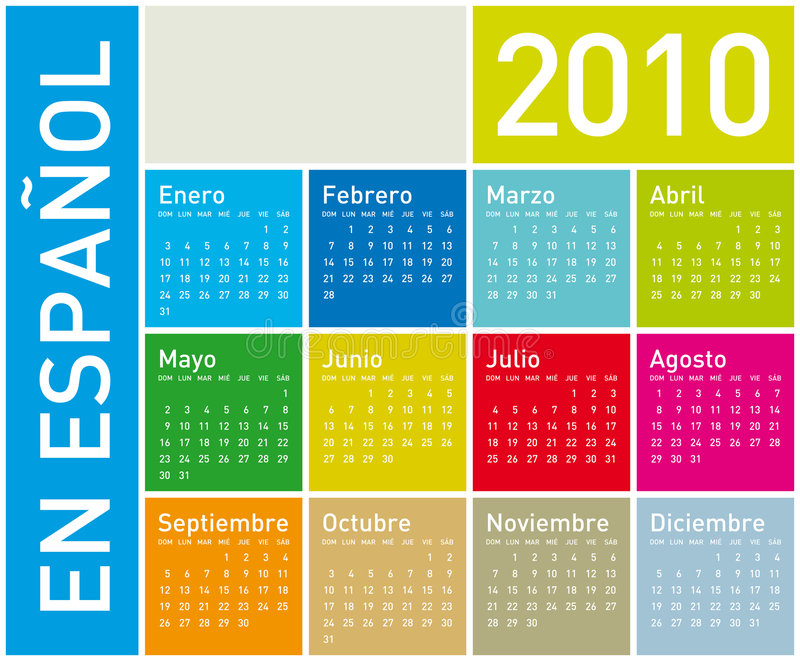 Download Colorful Calendar For 2010 In Spanish Stock Vector - Image: 8624273