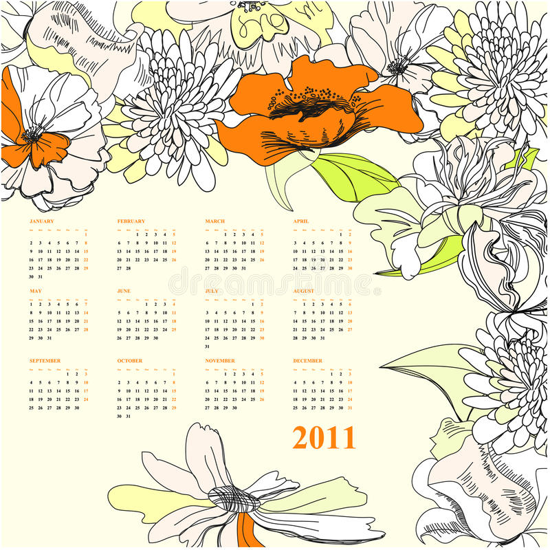 Colorful calendar for 2011 royalty free stock photography