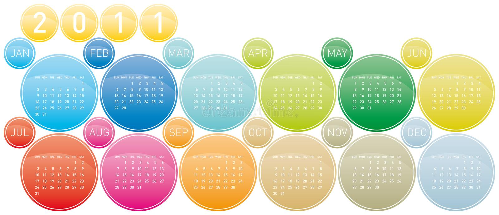 Download Colorful Calendar 2011 stock vector. Image of agenda - 17142847