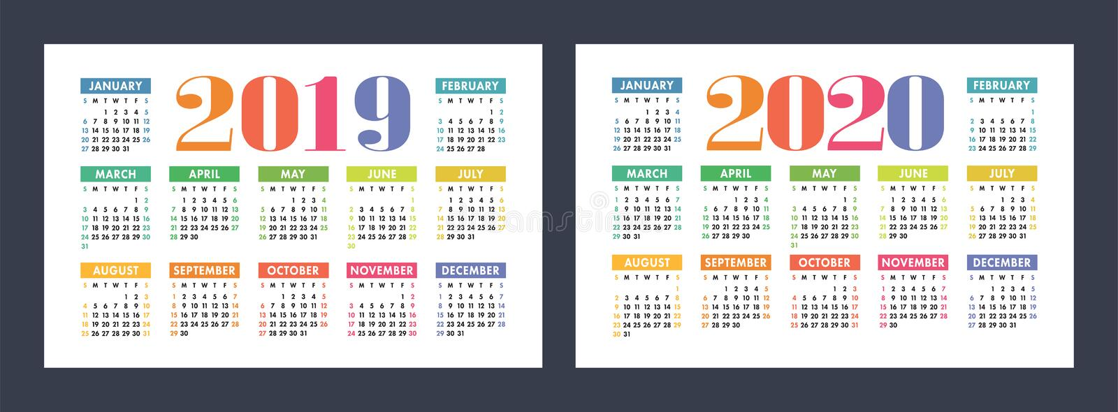 Colorful calendar set 2019, 2020. Bright, fun, cute royalty free illustration