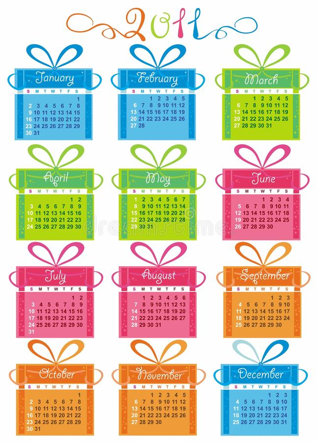 Colorful Calendar For Year 2011 royalty free illustration