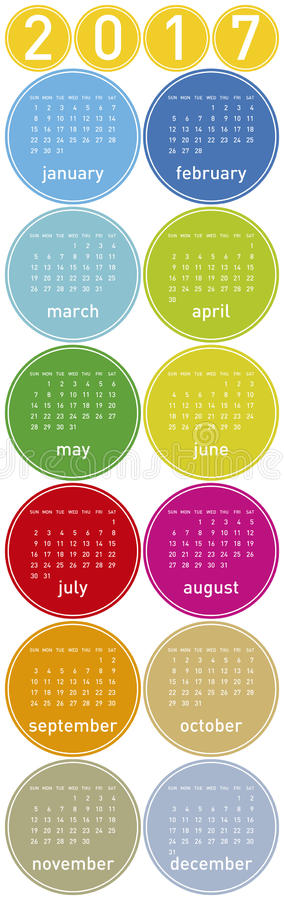 Colorful Calendar for year 2017 royalty free illustration
