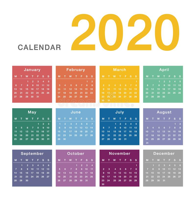 Colorful Calendar year 2020 vector design template, simple and clean design. stock illustration