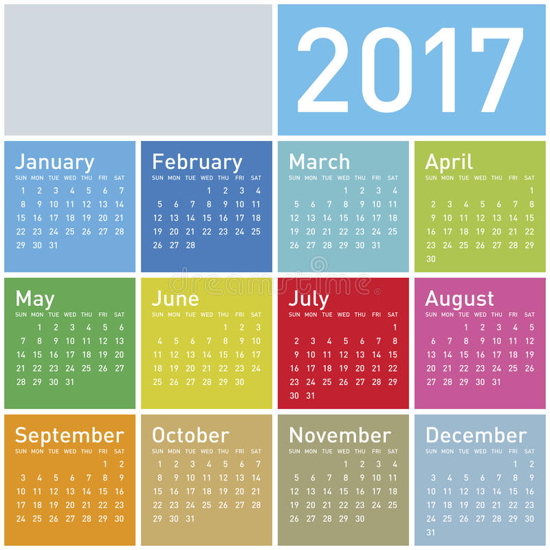 Colorful Calendar for Year 2017 stock illustration