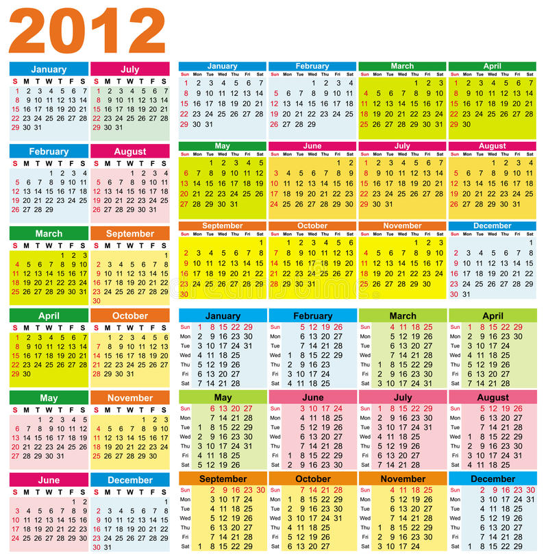 Colorful Calendars For 2012 Royalty Free Stock Photos