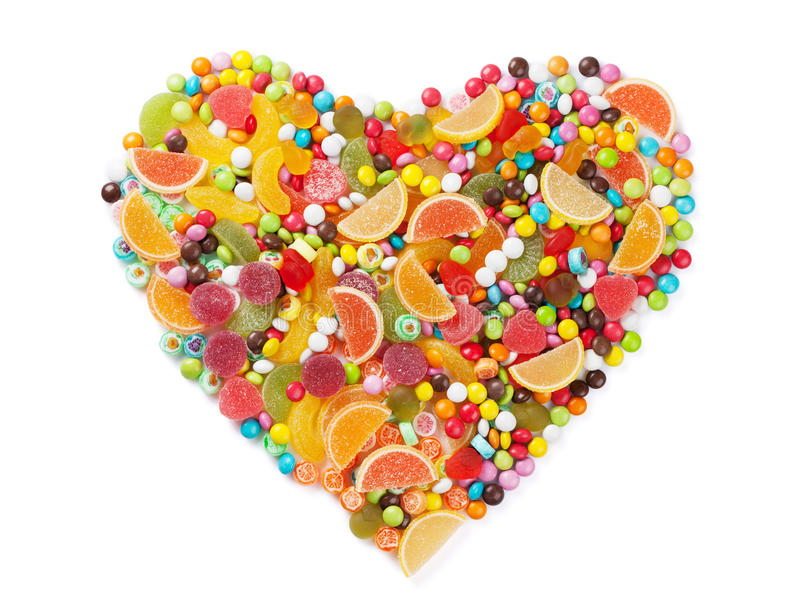 Colorful candies, jelly and marmalade heart stock photography