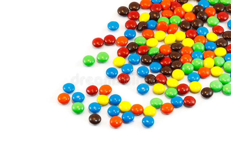 Colorful Candies. Pile of colorful chocolate coated candy stock photo