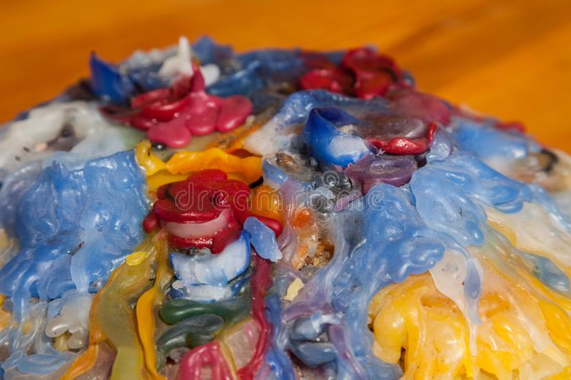 Colorful candle wax stock photo