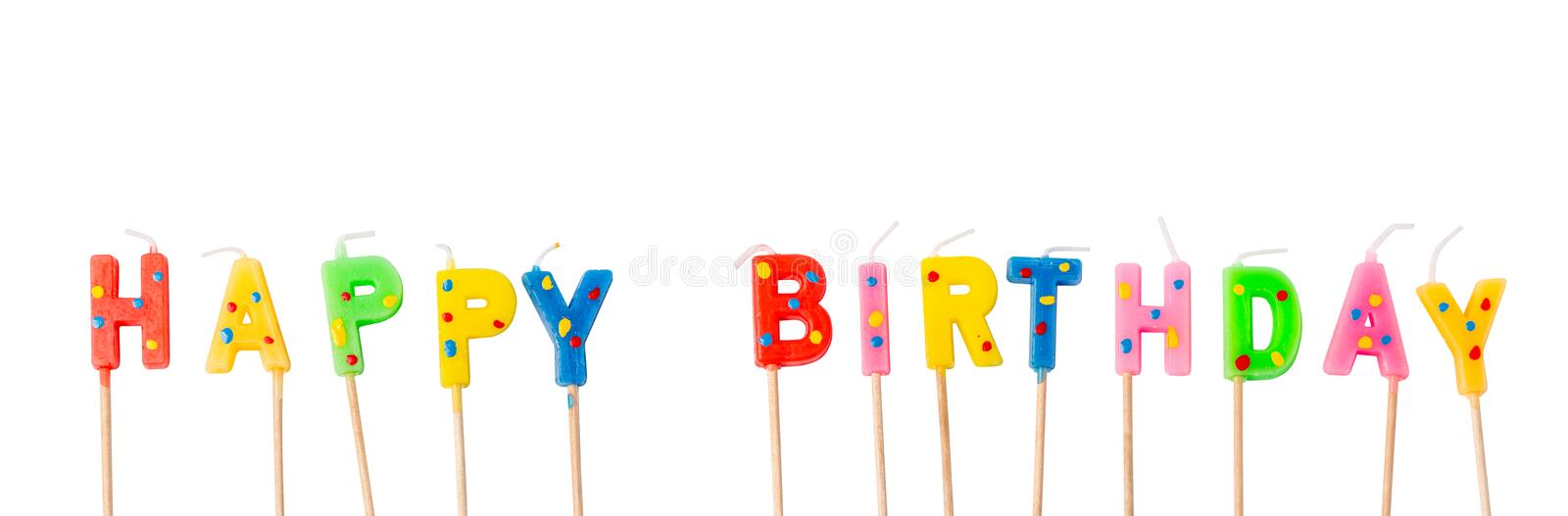 Colorful candles in letters saying Happy Birthday, royalty free stock photography