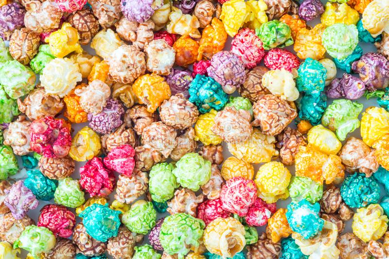 Colorful candy popcorn background stock photos