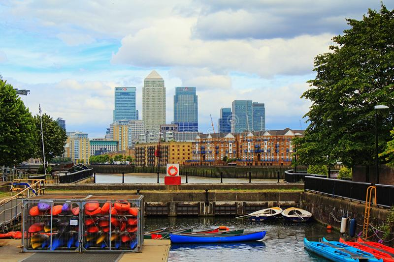 Shadwell Basin boats and London skyline England royalty free stock image