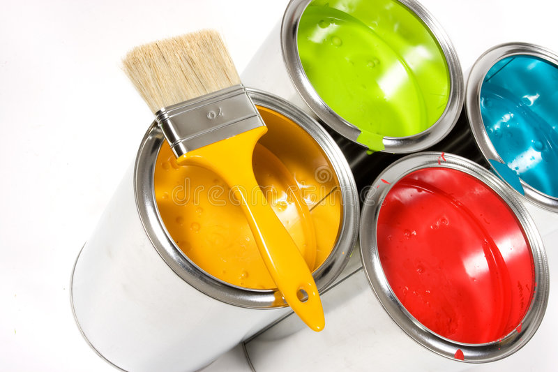 Colorful cans of paint stock image