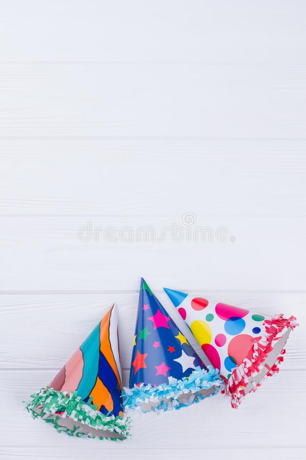 Colorful caps for Birthday party. royalty free stock image