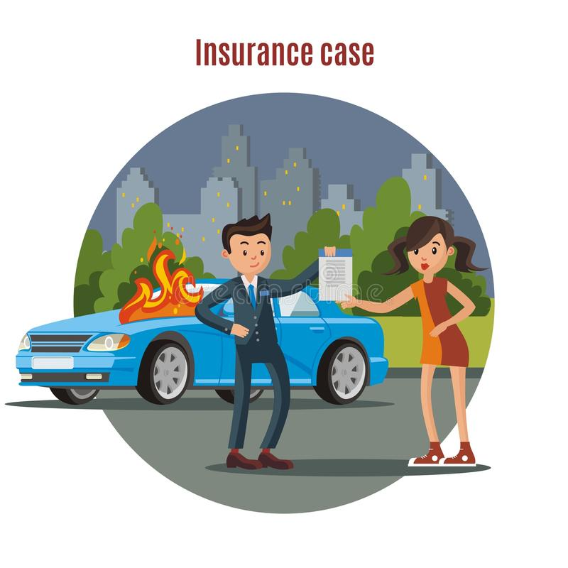 Colorful Car Insurance Template royalty free illustration