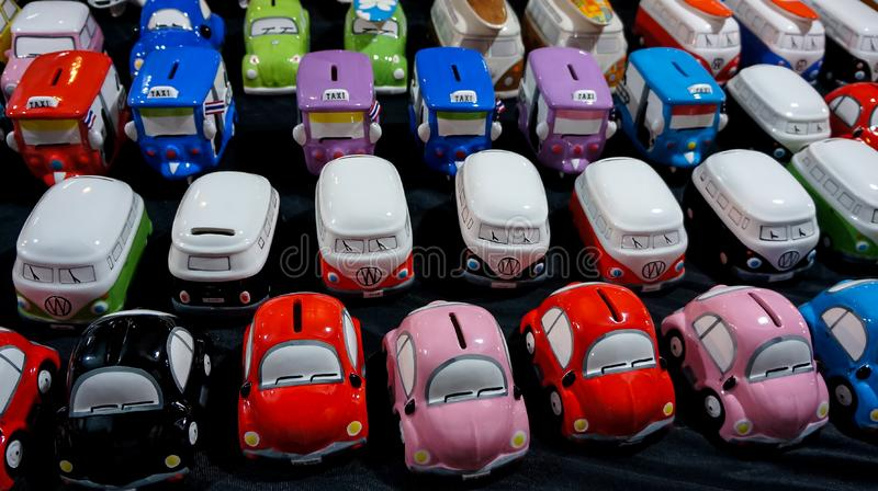 Colorful car toys for sale on night market Nakhon Ratchasima  thailand - 3 feb 2016 stock photography