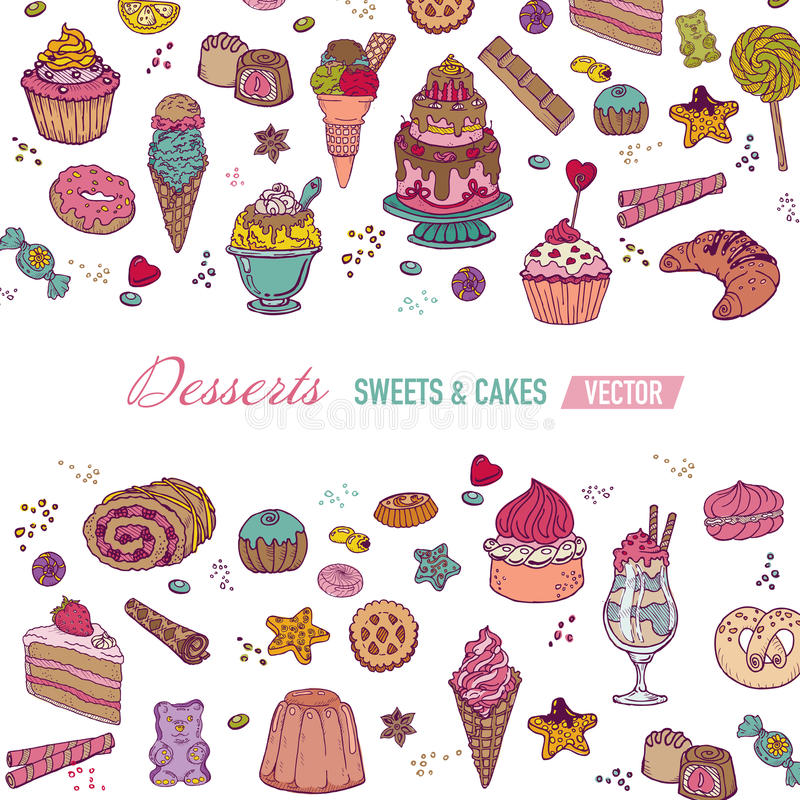 Colorful Card with Cakes and Desserts. Colorful Card or Brochure - with Cakes, Sweets and Desserts - in vector royalty free illustration