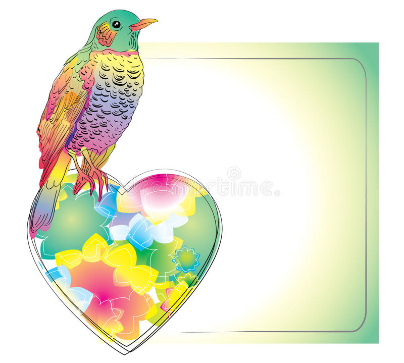 Download Colorful Card With Cute Bird And Heart Stock Vector - Illustration: 22578521