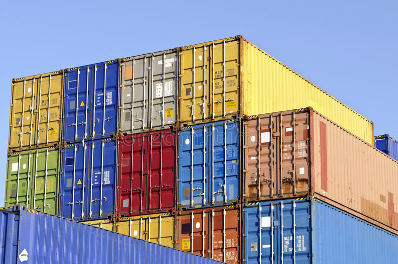 Colorful cargo containers for transport stock photos