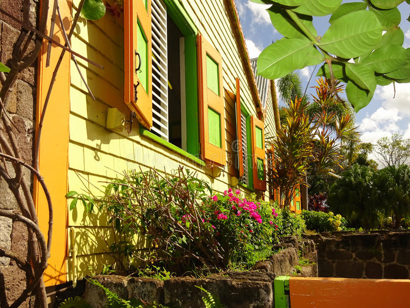Colorful Caribbean house royalty free stock photos
