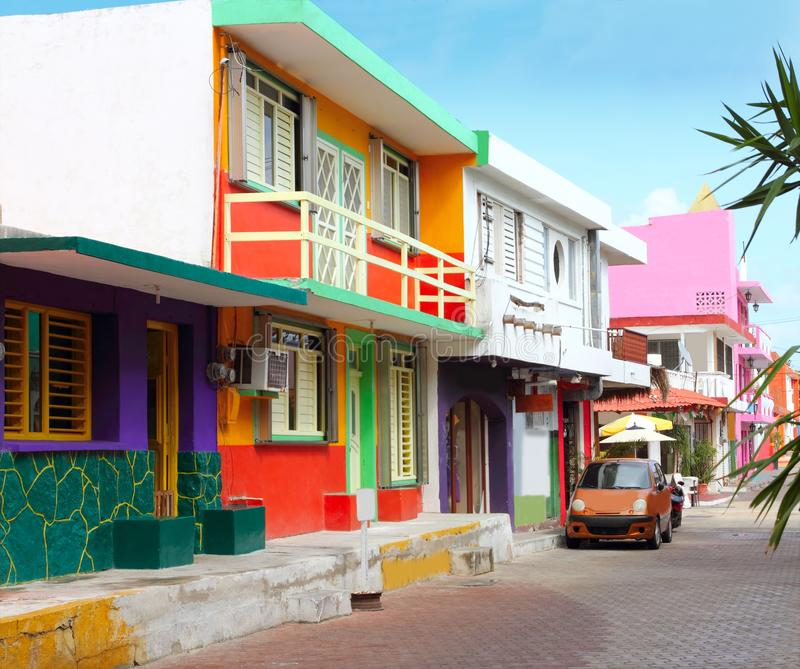 Colorful Caribbean Houses Tropical Isla Mujeres Stock
