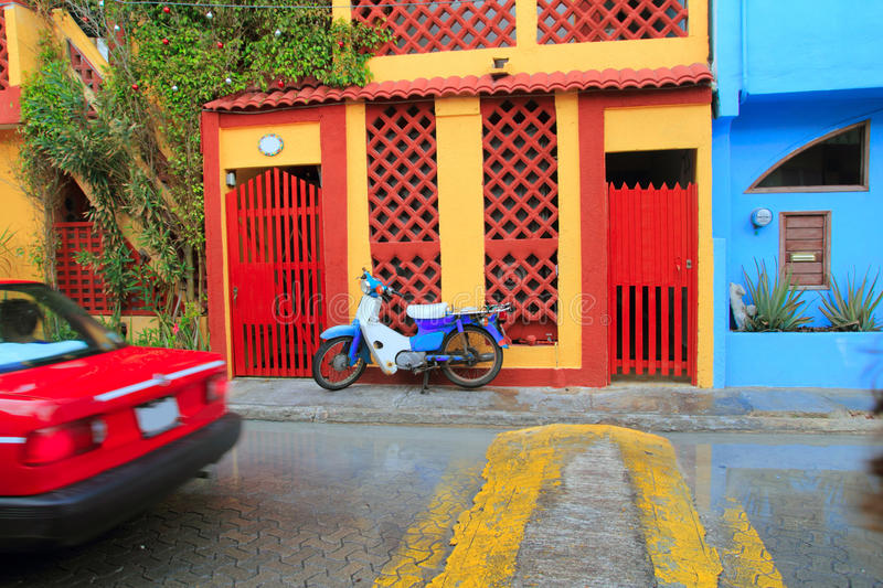 Colorful Caribbean houses tropical Isla Mujeres royalty free stock photo