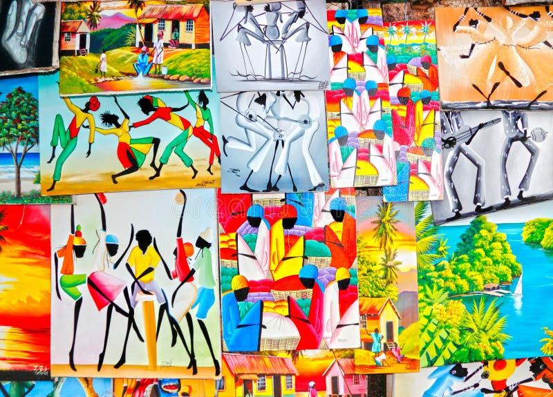 Colorful Caribbean Jamaican art royalty free stock photo