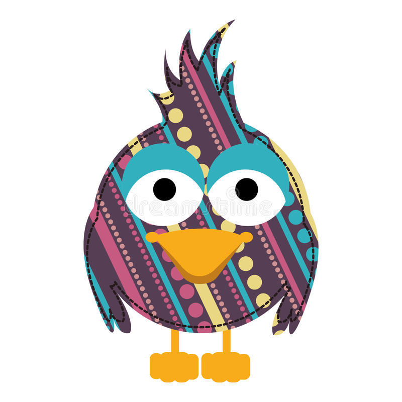 colorful caricature bird with texture dots and lines design vector illustration