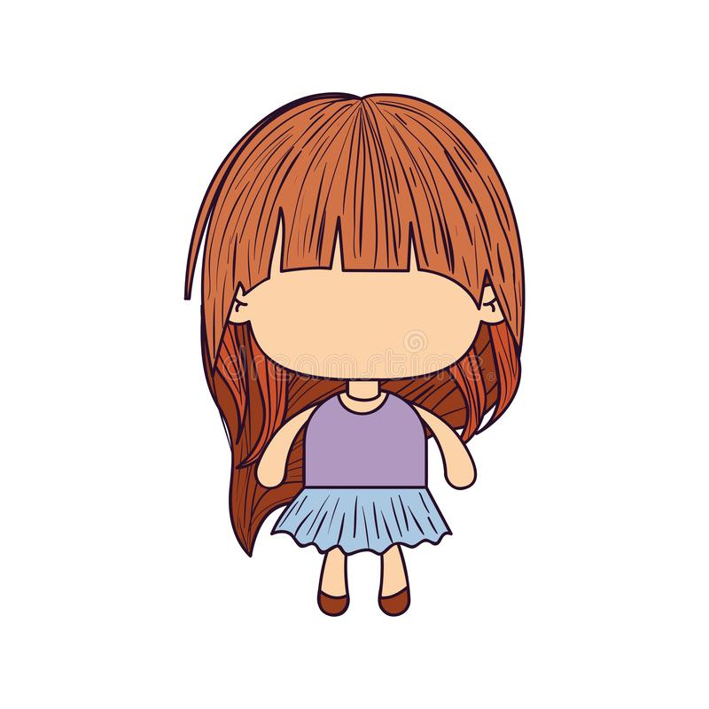 Colorful caricature of faceless little girl with long hair vector illustration