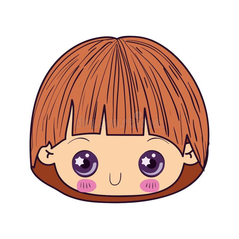 Colorful caricature kawaii cute little boy face stock illustration