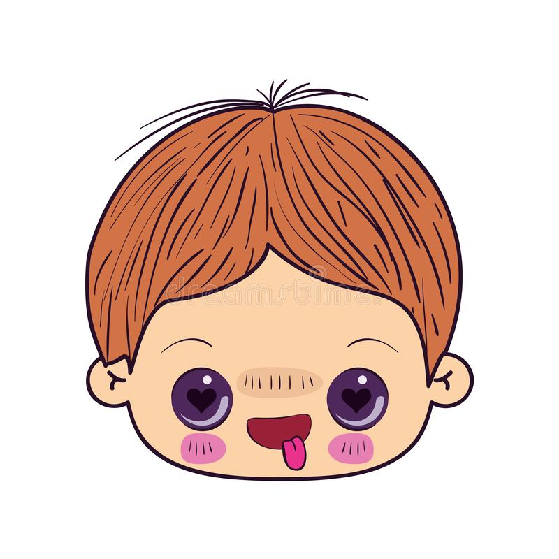 Colorful caricature kawaii face little boy with facial expression in love stock illustration