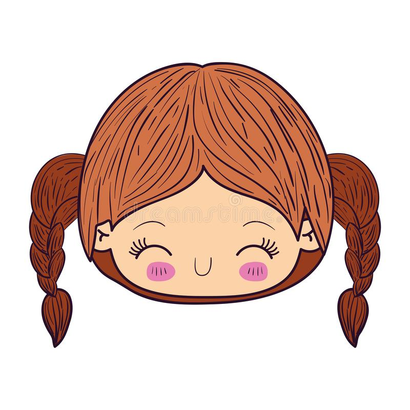 Colorful caricature kawaii face little girl with braided hair and facial expression happiness with closed eyes royalty free illustration