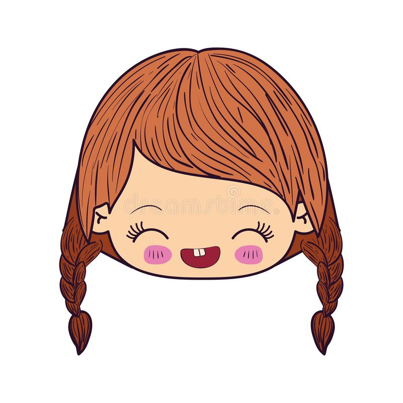 Colorful caricature kawaii face little girl with braided hair and facial expression laughing vector illustration