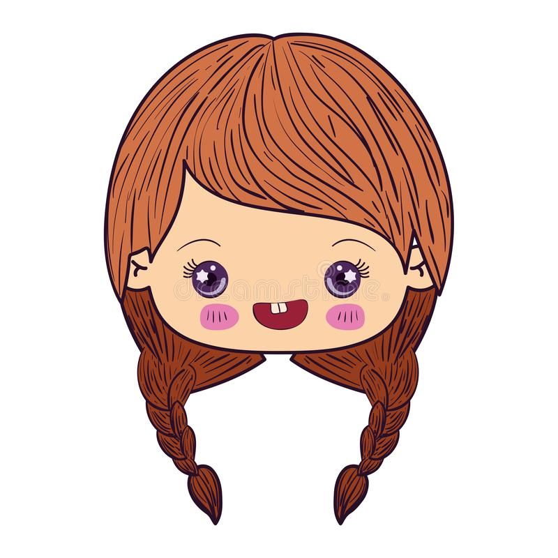 Colorful caricature kawaii face little girl with braided hair and smiling stock illustration