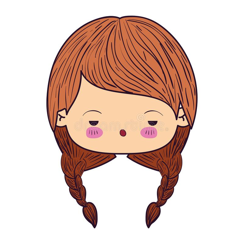 Colorful caricature kawaii face little girl with braids hair and facial expression of boring stock illustration