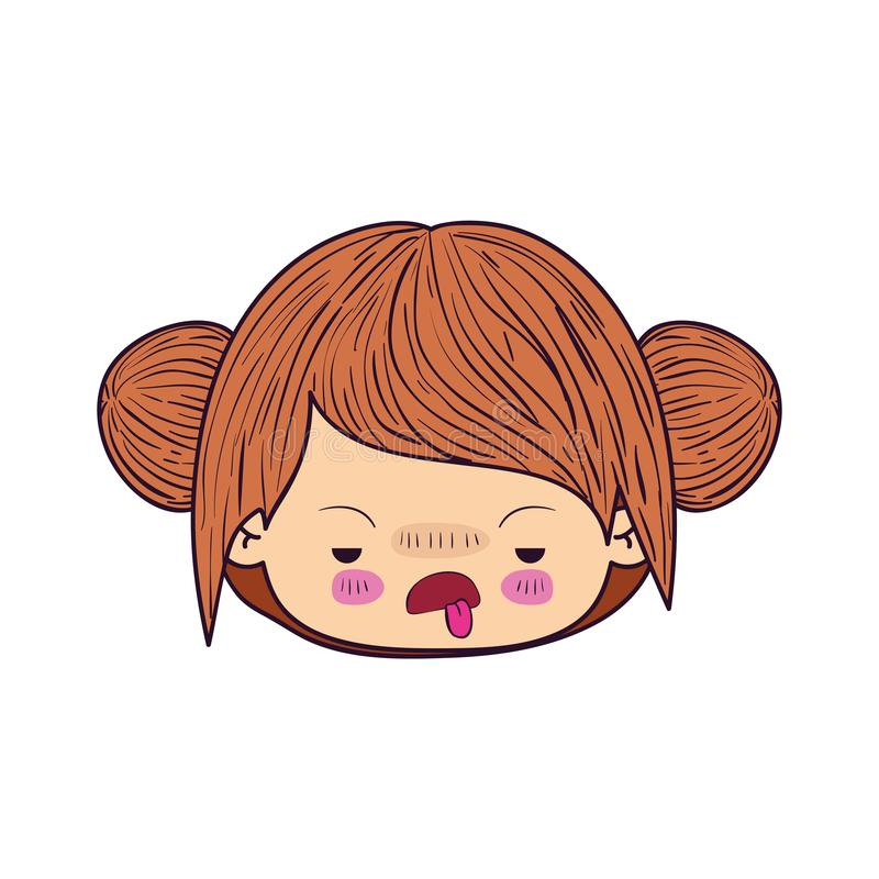 Colorful caricature kawaii face little girl with double collected hair and facial expression of disgust stock illustration