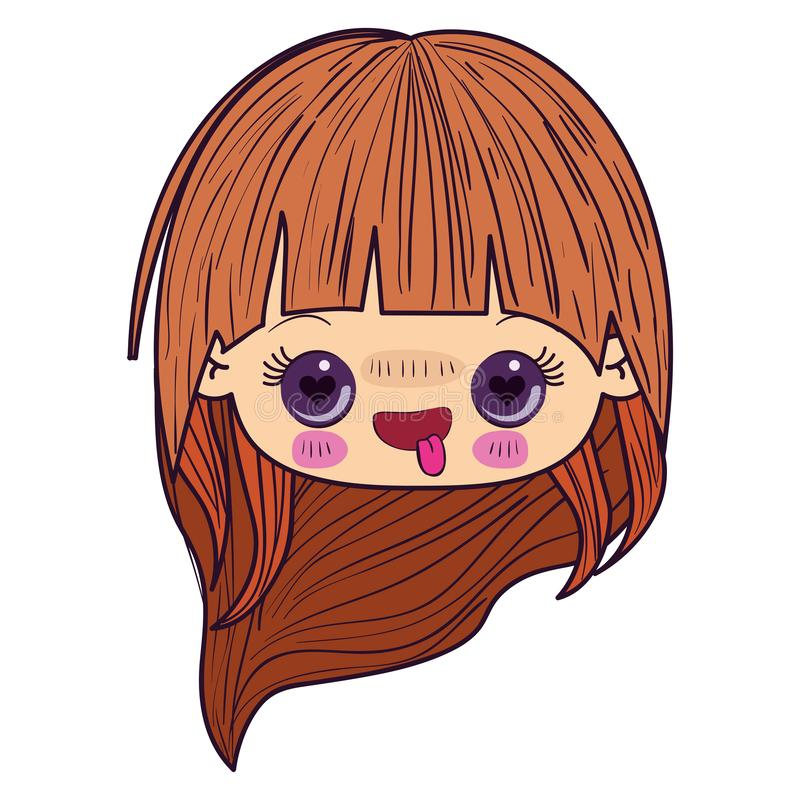Colorful caricature kawaii face little girl with long hair and facial expression enamored royalty free illustration