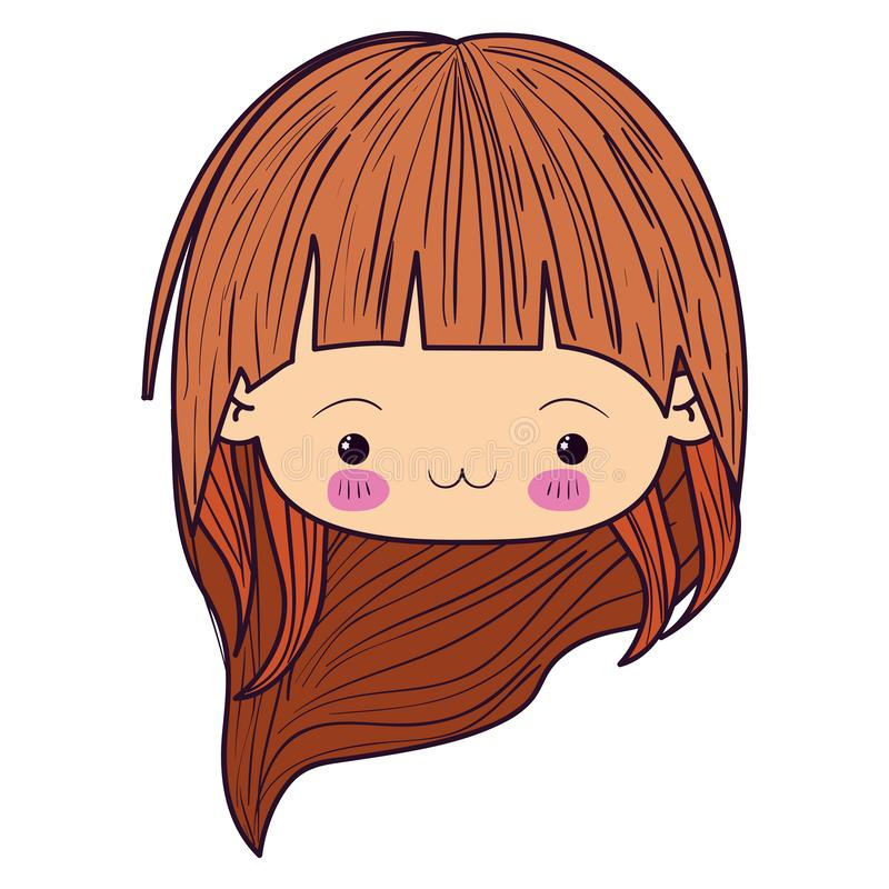Colorful caricature kawaii face little girl with long wavy hair and facial expression exhausted royalty free illustration