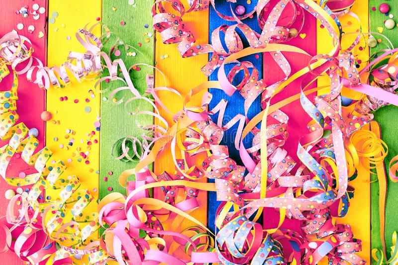 Colorful carnival background with streamers royalty free stock photography