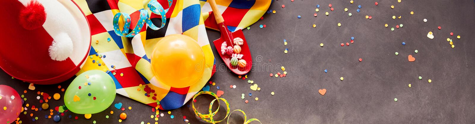 Colorful carnival banner with copy space stock photos