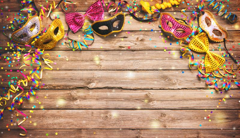 Colorful carnival or birthday background with masquerade masks stock photography