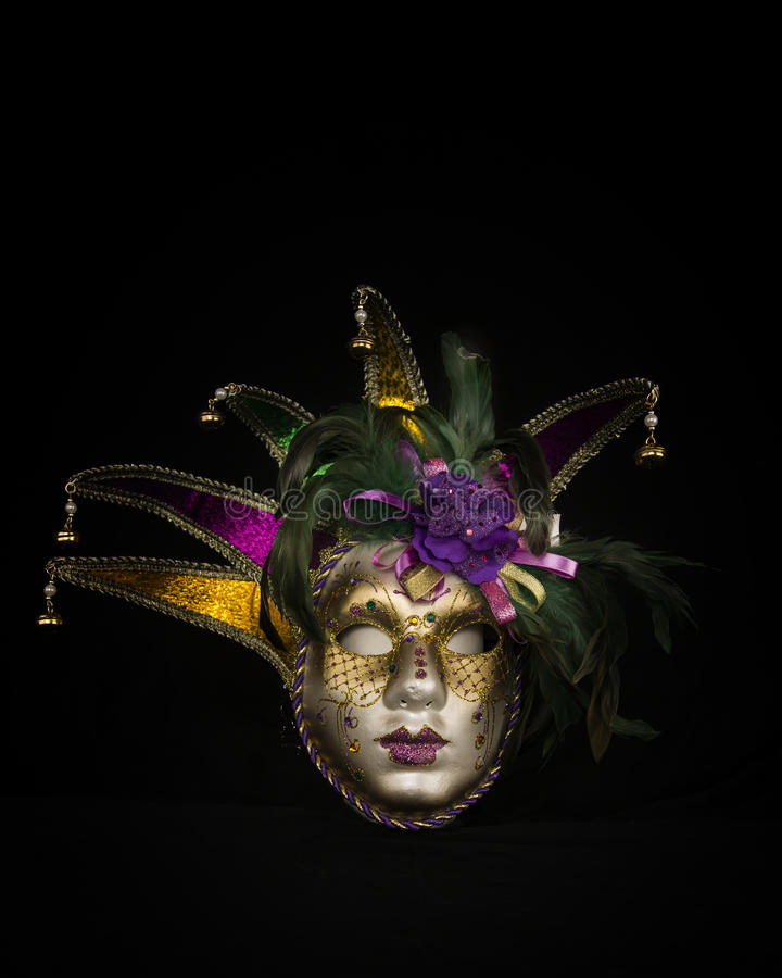 Colorful Carnival or Mardi Gras Mask on a black background stock photos
