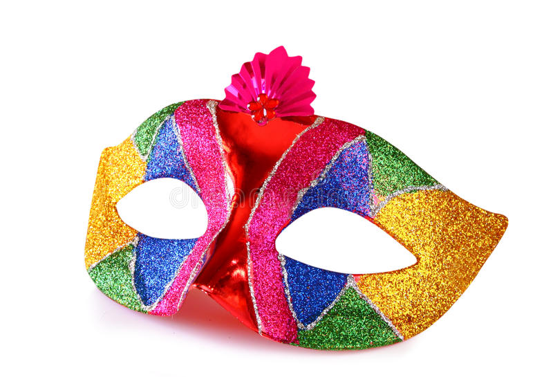 Colorful carnival mask isolated on white.  royalty free stock photos