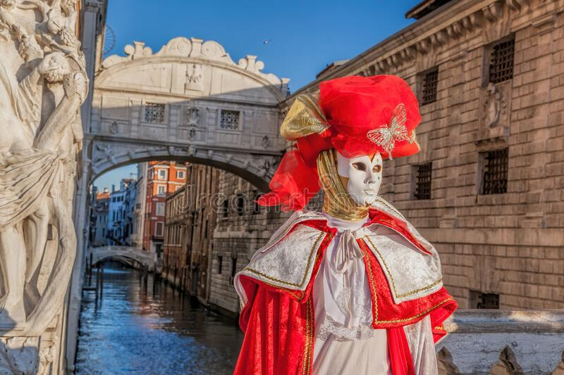 Colorful carnival masks at a traditional festival in famous  Venice, Italy royalty free stock images