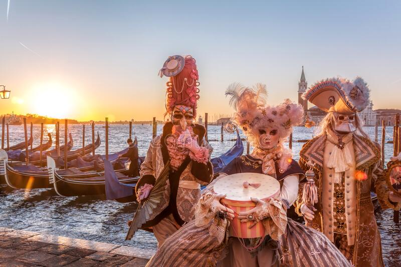 Colorful carnival masks at a traditional festival in famous  Venice, Italy stock photography