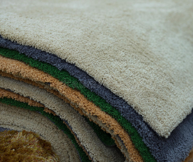 Colorful carpet samples royalty free stock photos