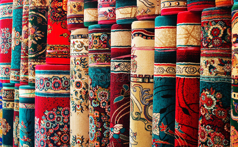 Colorful carpets stock photos