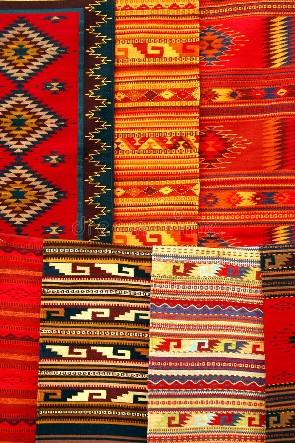 Free Colorful Carpets Hanging On The Market. Mexico Stock Image - 11638961