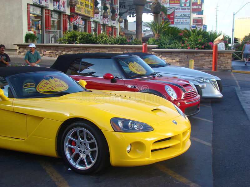 colorful cars for rent in las vegas editorial stock photo image 68368333. Black Bedroom Furniture Sets. Home Design Ideas