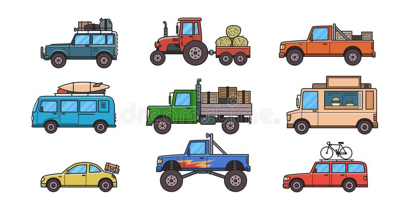 Colorful cars and trucks. Types of cars. Different cars for different ways of life. Set of isolated images on white vector illustration