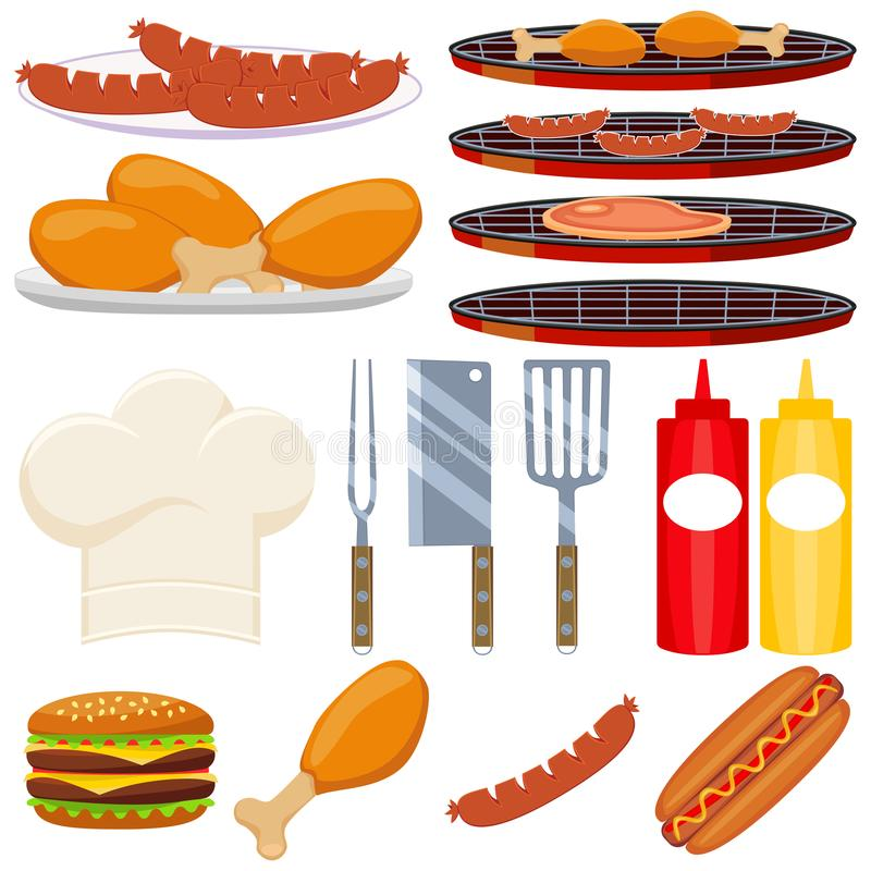 Colorful cartoon bbq cooking 15 element set. Food themed vector illustration for gift card certificate sticker, badge, sign, stamp, logo, label, icon, poster royalty free illustration
